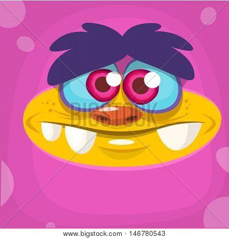 Cartoon monster face. Vector Halloween pink monster avatar