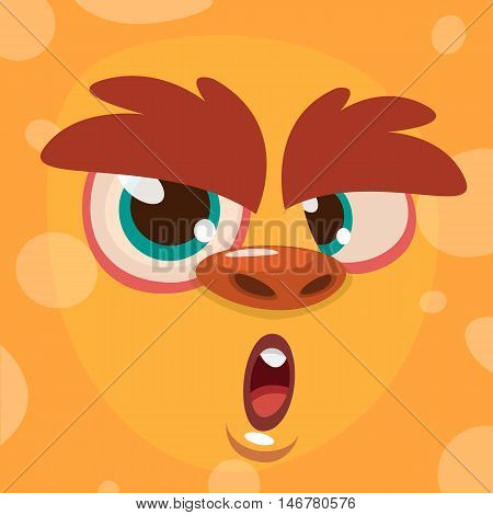 Cartoon monster face. Vector Halloween orange monster avatar