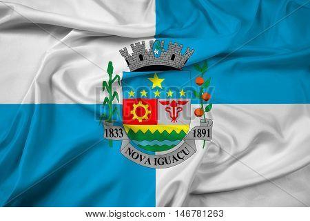 Waving Flag of Nova Iguacu Brazil, with beautiful satin background. 3D illustration