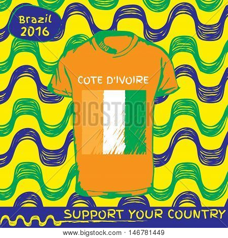 Hand drawn vector. vector pattern with t-shirt with country flag. Support your country. National flag. Cote divoire