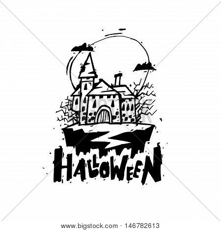 Happy halloween poster, banner, fly-er. Castle with trees. Black on white. Lettering. Halloween party. Flat design vector illustration.