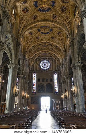 COMO, ITALY - JUNE 27, 106: Como (Lombardy Italy): interior of the medieval cathedral built from 1396 to 1770