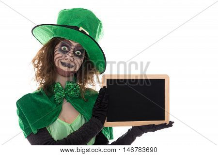 Green Goblin Girl Holding A Slate With Copyspace, Isolated On White