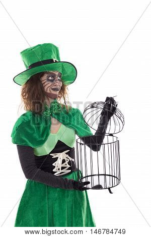 Green Goblin Girl Holding A Birdcage, Isolated On White