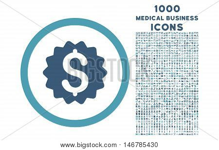 Financial Reward Seal rounded glyph bicolor icon with 1000 medical business icons. Set style is flat pictograms, cyan and blue colors, white background.