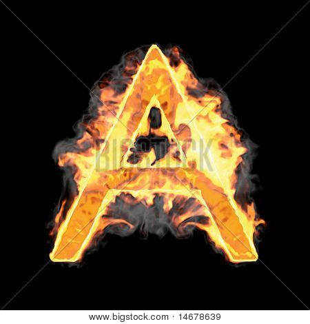 Burning And Flame Font A Letter Over Black