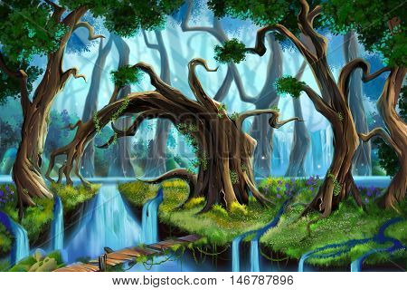Water Forest. Video Game's Digital CG Artwork, Concept Illustration, Realistic Cartoon Style Background