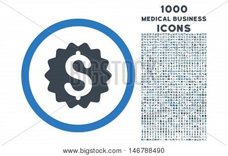Financial Reward Seal rounded glyph bicolor icon with 1000 medical business icons. Set style is flat pictograms, smooth blue colors, white background.