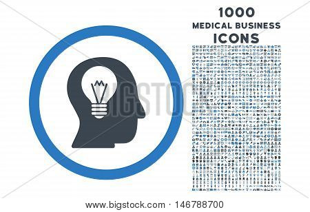 Intellect Bulb rounded glyph bicolor icon with 1000 medical business icons. Set style is flat pictograms, smooth blue colors, white background.