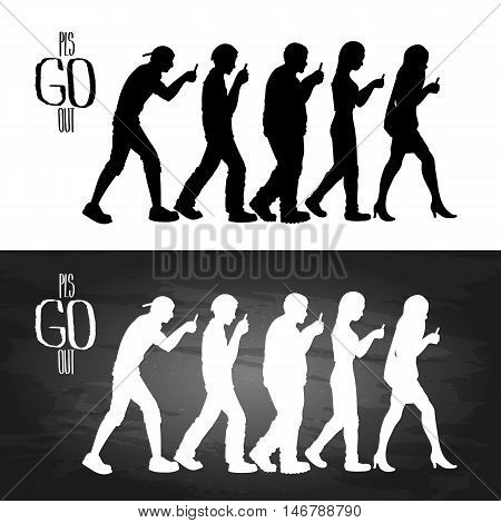 Group of walking people looking into their smartphones. Side view of men and women. Trendy outdoor activities. Modern game. Isolated vector design elements