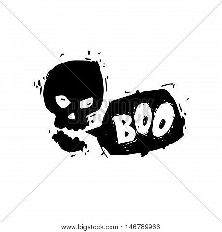 Happy halloween poster, banner, fly-er. Talking skull. Black on white. Lettering. Halloween party. Flat design vector illustration.