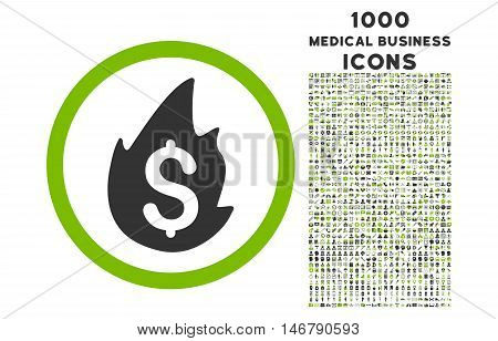 Business Fire Disaster rounded vector bicolor icon with 1000 medical business icons. Set style is flat pictograms, eco green and gray colors, white background.