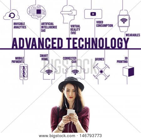 Advanced Technology Connected Drones Technology Concept