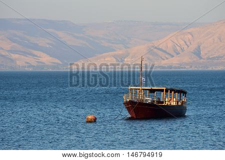 Wooden ship for  the trip on Kinneret lake in northern Israel.