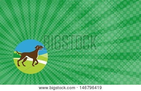 Business Card showing Illustration of an english pointer dog pointing up in a pointer stance with head up tail out and one foot slightly raised viewed from the side set inside circle with grass and trees in the background done in retro style.