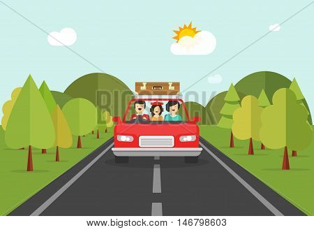Happy family trip by car vector illustration, flat cartoon smiling family characters in auto travelling on road across forest and hills, concept of road journey together