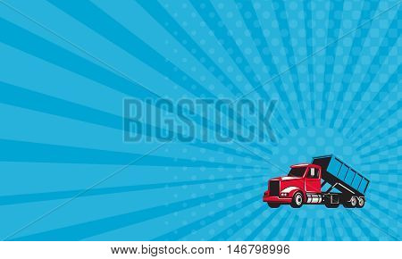 Business card showing illustration of a roll-off truck with container bin on back viewed from side set on isolated white background done in retro style.