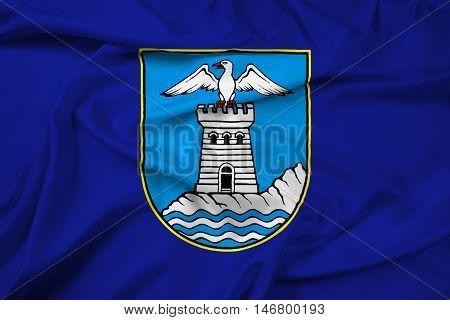 Waving Flag of Opatija Croatia, with beautiful satin background. 3D illustration