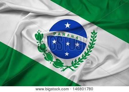 Waving Flag of Parana State Brazil, with beautiful satin background. 3D illustration