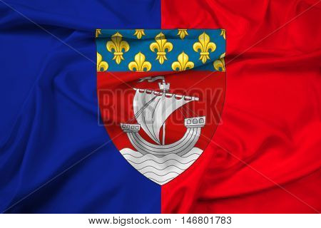 Waving Flag Of Paris With Coat Of Arms (escutcheon Only), France