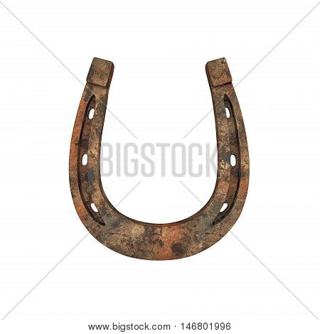 Old rusty horseshoe isolated on white. 3D rendering