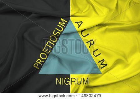 Waving Flag of Ouro Preto Brazil, with beautiful satin background