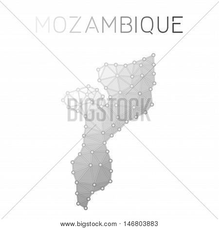 Mozambique Polygonal Vector Map. Molecular Structure Country Map Design. Network Connections Polygon