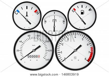 Dashboard - fuel gauge tachometer speedometer odometer fuel gauge accumulator charge gauge. Realistic vector illustration isolated on white background