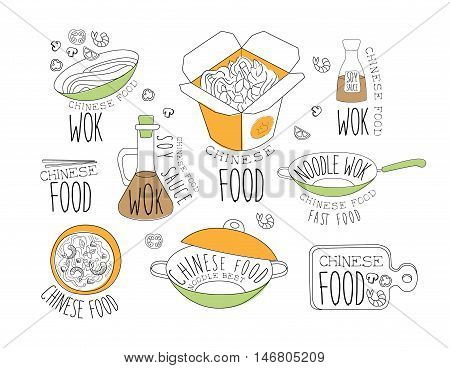 Chinese Wok Noodles Promo Labels Collection. Traditional Chinese Cuisine Of Premium Quality Advertisement Sign Set. Light Color Flat Cute Illustration In Simplified Outlined Vector Design
