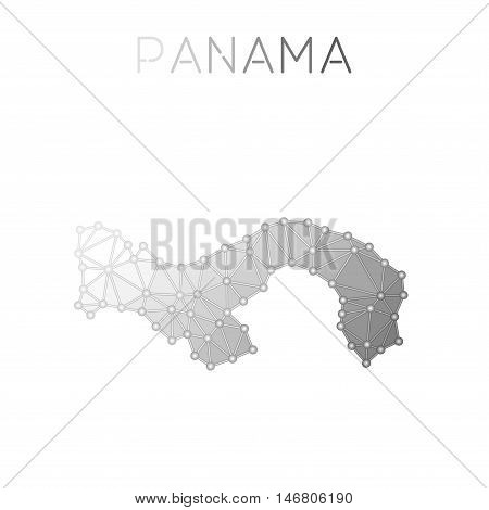 Panama Polygonal Vector Map. Molecular Structure Country Map Design. Network Connections Polygonal P