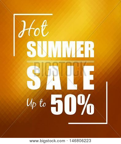Hot summer sale up to 50 % over sunny golden background