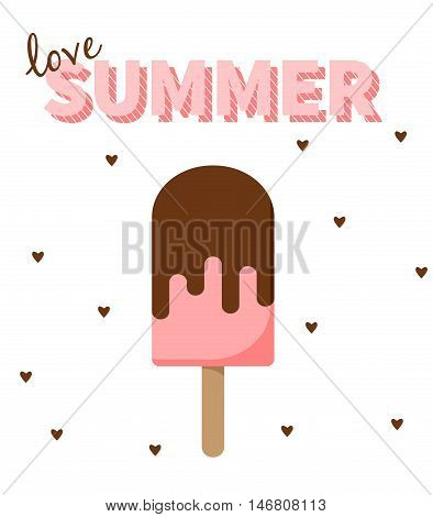 Love Summer strawberry popsicle with hearts. White background