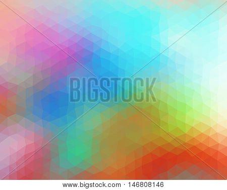 Multicolored polygonal illustration consist of triangles. Origami style. Triangular design. Blue white green orange pink purple colors