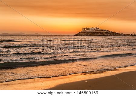 Sunset over the beach of Naxos - Greece