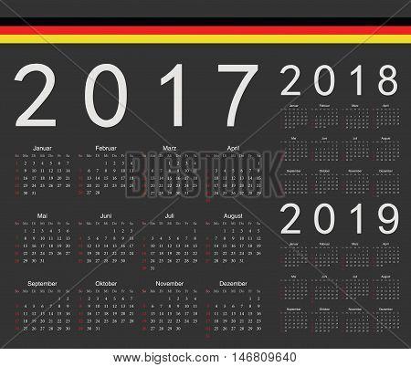 Set Of Black German 2017, 2018, 2019 Year Vector Calendars
