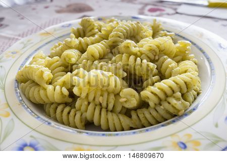 plate of pasta with traditional pesto genovese