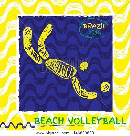 Brasil summer games sport icon pictogram. Icons olympics sport with Ipanema pattern. Vector hand drawn Illustration beach volleyball sport icon.
