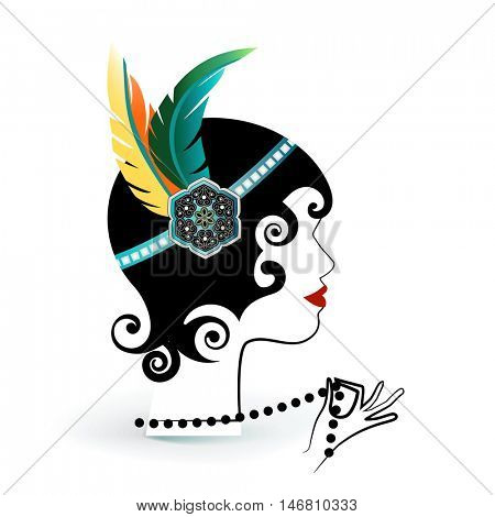 Flapper girl with feathers and pearls isolated