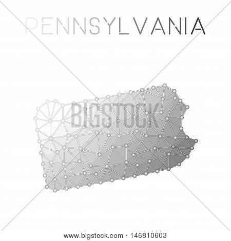Pennsylvania Polygonal Vector Map. Molecular Structure Us State Map Design. Network Connections Poly