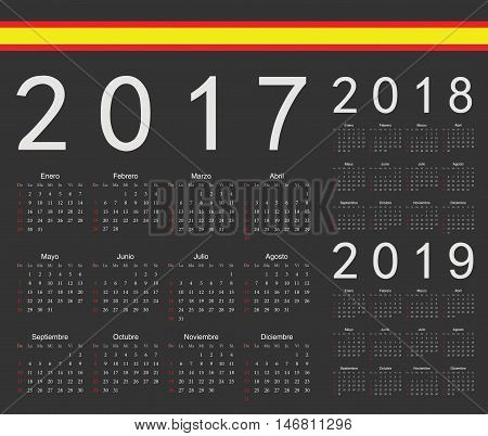 Set Of Black Spanish 2017, 2018, 2019 Year Vector Calendars