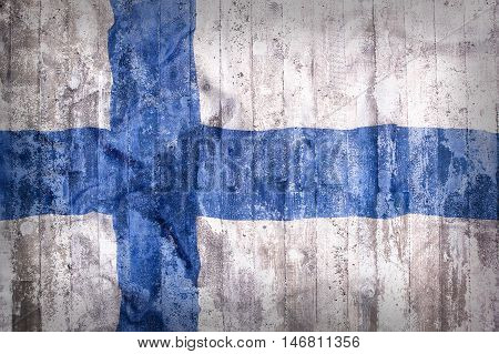 Grunge Style Of Finland Flag On A Brick Wall