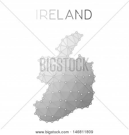 Ireland Polygonal Vector Map. Molecular Structure Country Map Design. Network Connections Polygonal