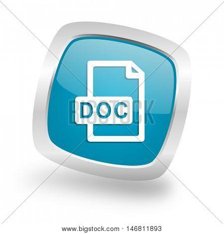 doc file square glossy chrome silver metallic web icon