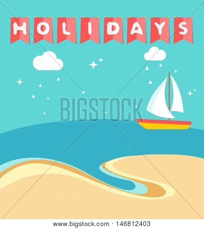 Summer holidays beach scene with ship sailing a sea in flat style