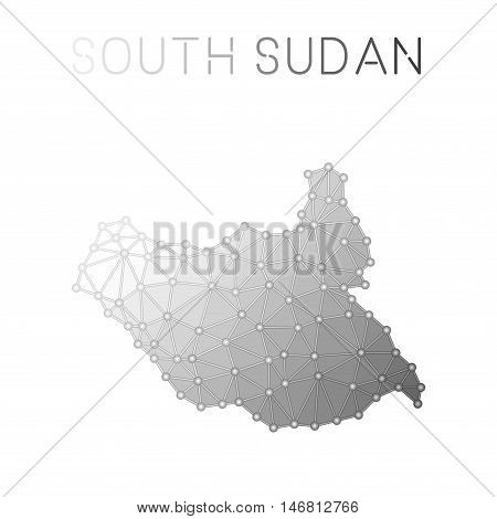 South Sudan Polygonal Vector Map. Molecular Structure Country Map Design. Network Connections Polygo