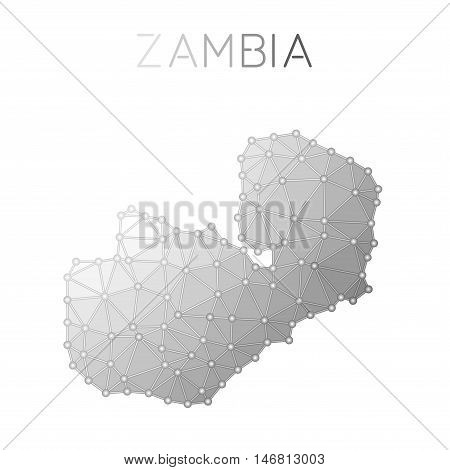 Zambia Polygonal Vector Map. Molecular Structure Country Map Design. Network Connections Polygonal Z
