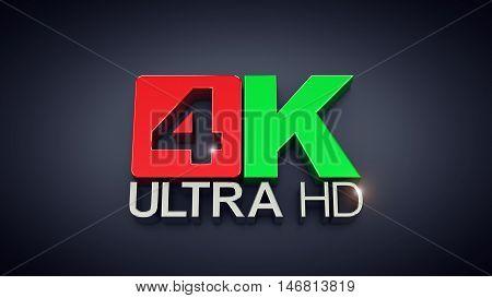Ultra High Definition 4K text on dark background , 4K Ultra HD , 3d illustration