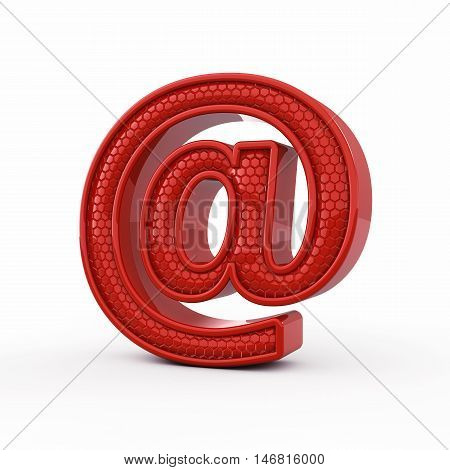 Red At sign isolated on white background , Email , 3d illustration