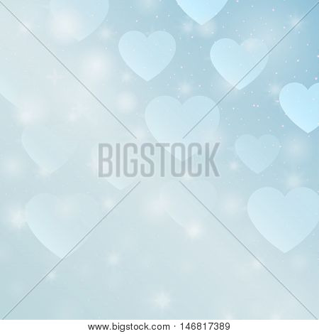Abstract design love. Decorative symbol with hearts. Bright shapes bokeh. Romantic ornament. Valentine's Day wallpaper. Festive creative element. Simple graphic object. Vector.