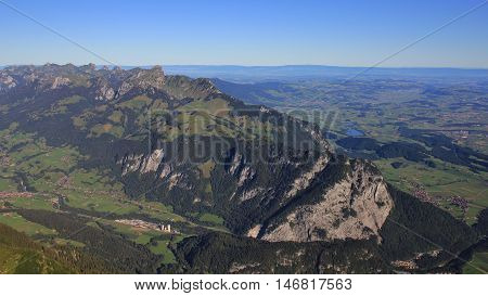 Landscape in the Bernese Oberland. Mt Stockhorn in summer. View from Mt Niesen.